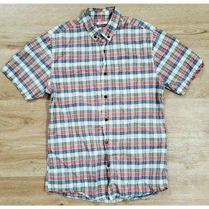 Katin Mens Short Sleeve Blue Red Plaid Shirt M